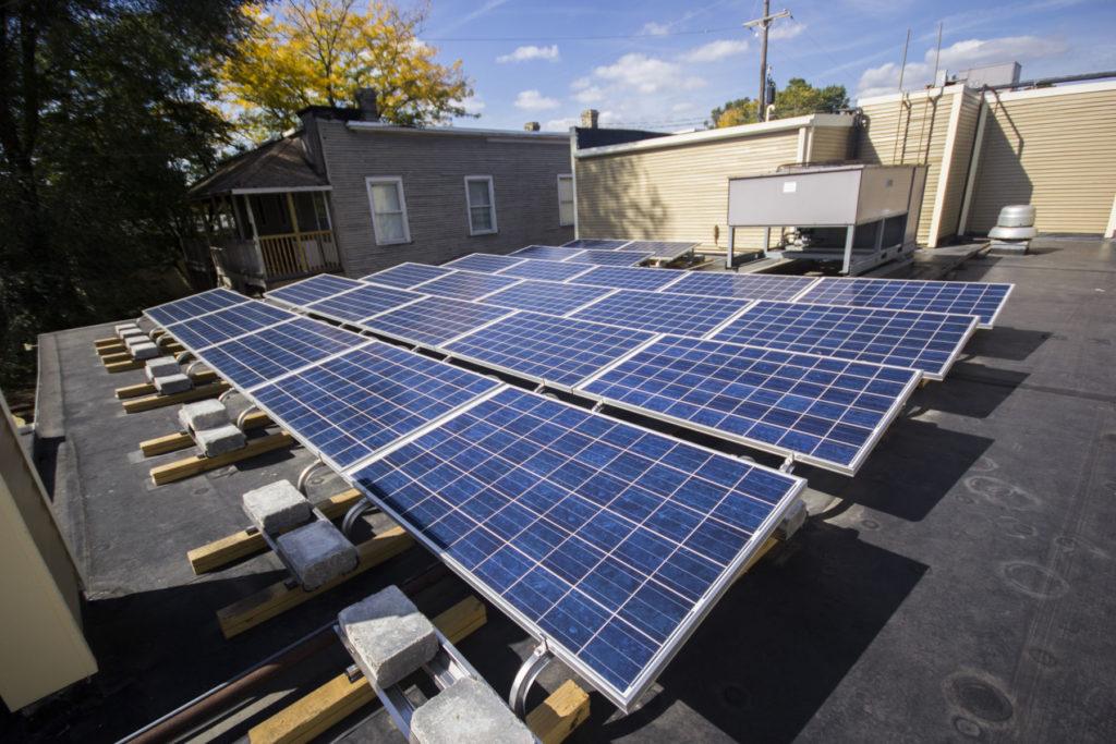 Wealthy Street Theater solar panel installation