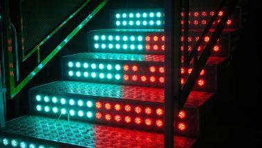 lit-up industrial steps