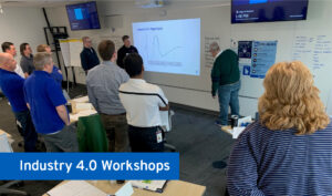 people in a workshop looking at a whiteboard