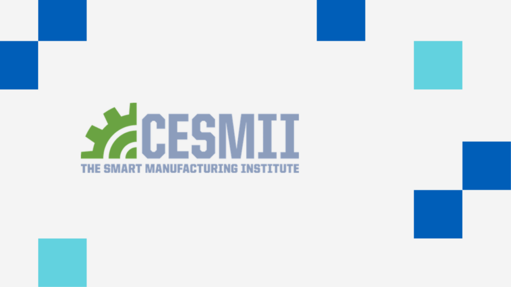 CESMII logo on a graphic background